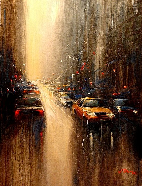 NYC. Rain-soaked depiction of New York by Artist Van Tame.