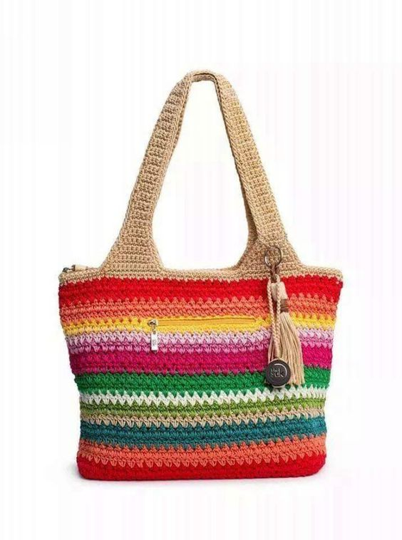 Crochet Bag With Pockets Pattern : Crochet Bag with front zipped pocket and zipped closure to ...