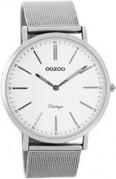 Oozoo Ultra Slim Vintage Uhr C7392 - silber/weiss - 40 mm - Meshband
