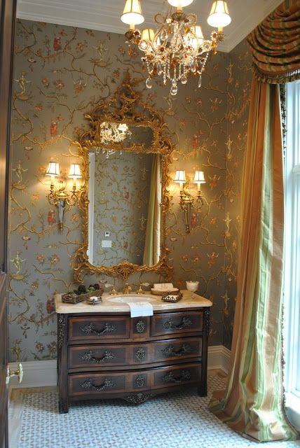 Beautiful powder room wallpaper is jester caprice in for Gorgeous powder rooms