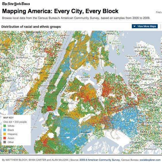 map project created by Matthew Bloch, Shan Carter, and Alan McLean. Based on the U.S. Census Bureau's 2005-2009 American Community Survey this project offers us 21 different maps of every U.S. Census tract in the country, giving us extraordinary access to information about the groups who make up our cities, counties, states, and regions.