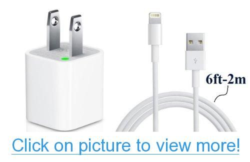 D $ K Exclusives® 6 Ft - 2M Extra Long USB Cable for Apple iPhone 5, 5S, 5C iPad, iPod Sync Cable Power Cord with Wall Charger (White)