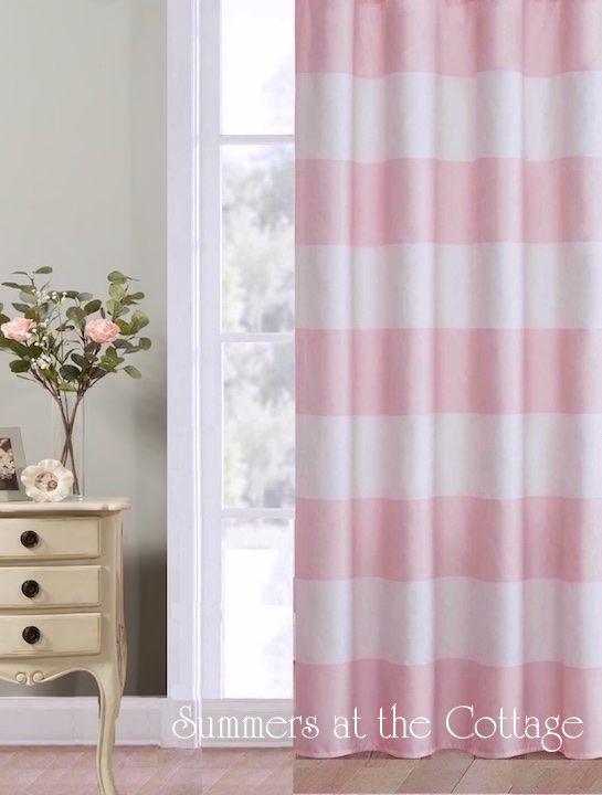 Shabby Beach Chic Pink White Cabana Stripe Curtains Drape Panels