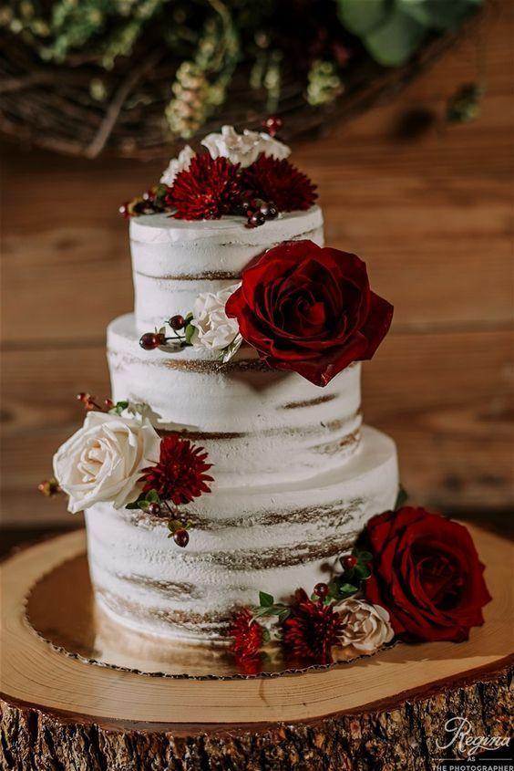 Trendiest Marsala Weddings For 2019 2020 Christmas Wedding Cakes Burgundy Wedding Cake Wedding Cake Fresh Flowers