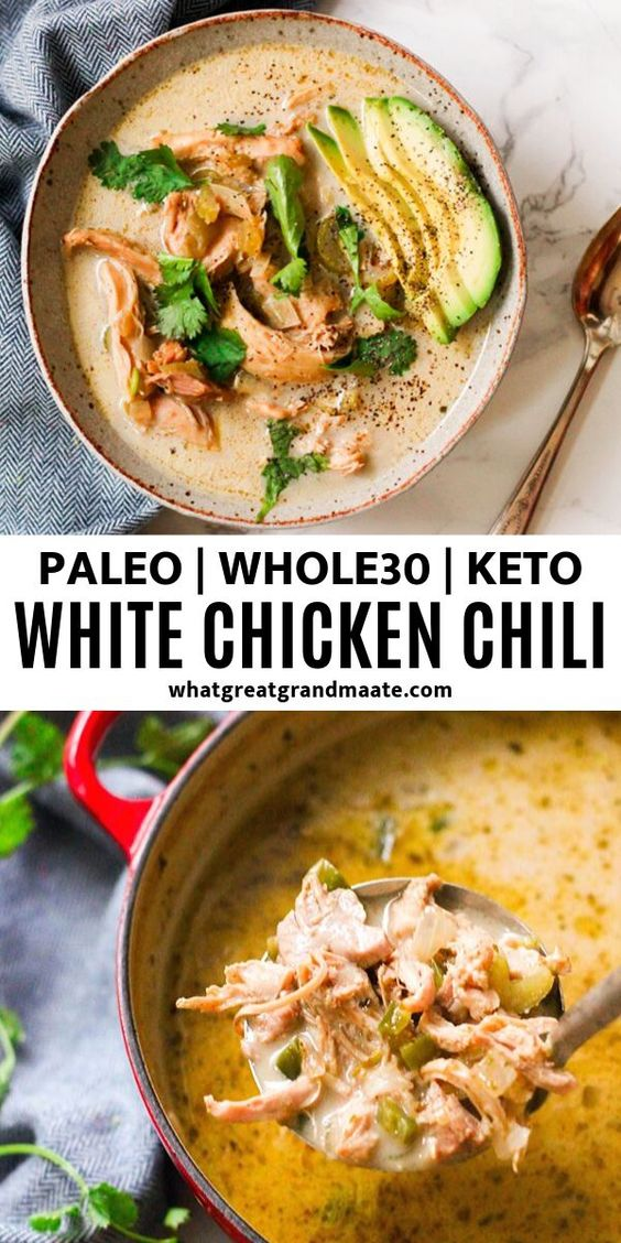 Paleo White Chicken Chili (Whole30, Keto)