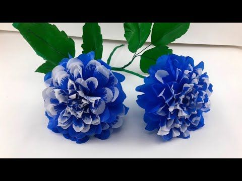 Diy Bunga Dahlia Tomo Pilo Sangat Cantik How To Make Beautiful Tomo Pilot Blue And White Dahlia Youtube White Dahlias Dahlia Flower Dahlia
