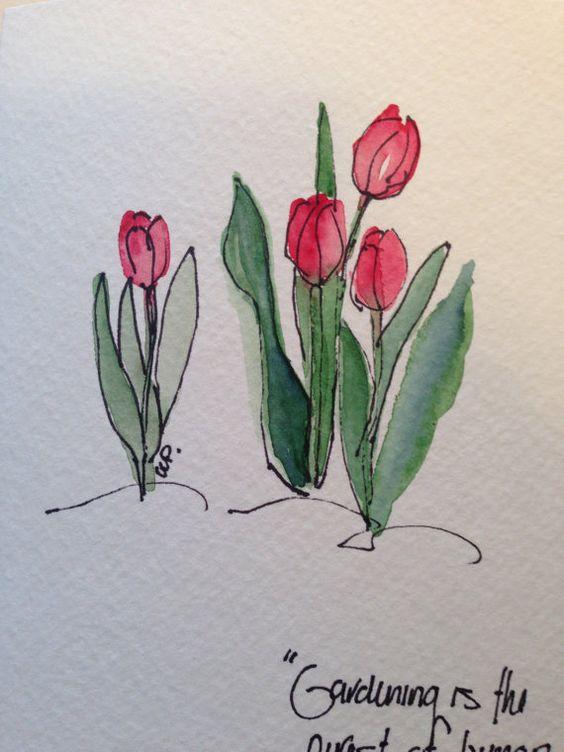 Tulips Watercolour.: