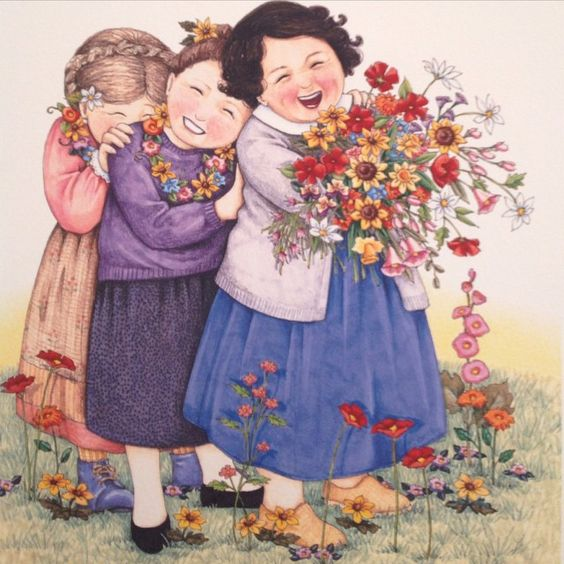 """""""Friends....❤️"""" by Mary Engelbreit. Can also be my sisters and me since we're best friends."""