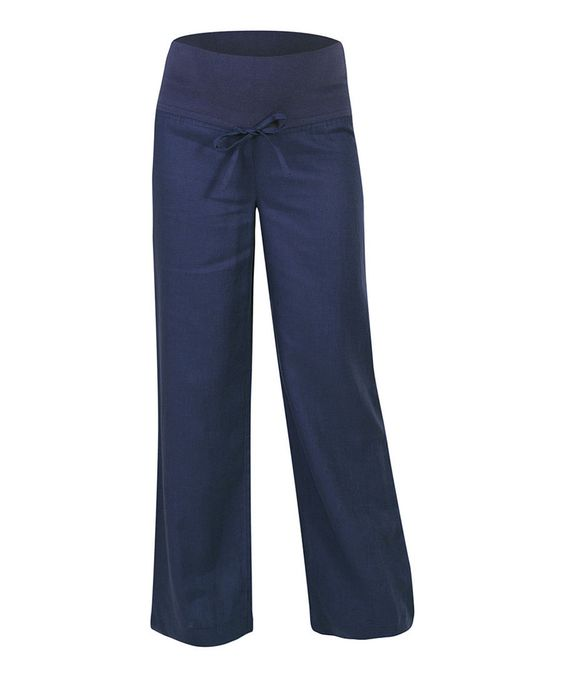 Another great find on #zulily! JoJo Maman Bébé Navy Over-Belly Linen Maternity Trouser Pants by JoJo Maman Bébé #zulilyfinds