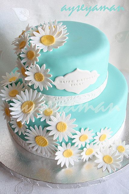Tiffany's blue cake with daisy flowers by ayse's cakes in new jersey, new york, via Flickr