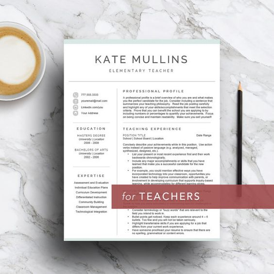 Teacher resume template for Word \ Pages (1, 2 and 3 page CV - professional teaching resume