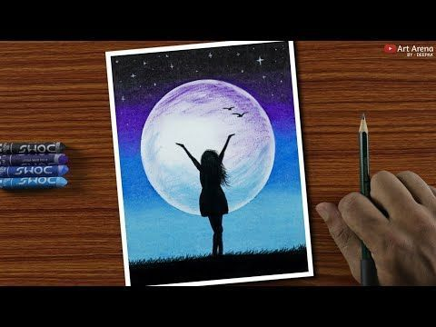 Easy Oil Pastel Drawing For Beginners A Girl In Moonlight Step By Step You Beginners Drawing Moonlight Pa 2020 Tuval Sanati Cizimler Cizilecek Seyler