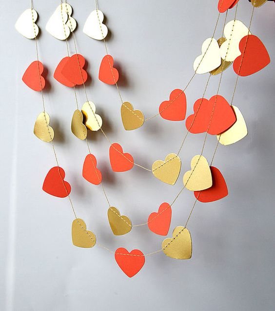 gold and coral heart decorations