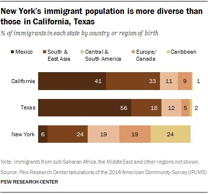 New York's immigrant population is more diverse than those in California, Texas