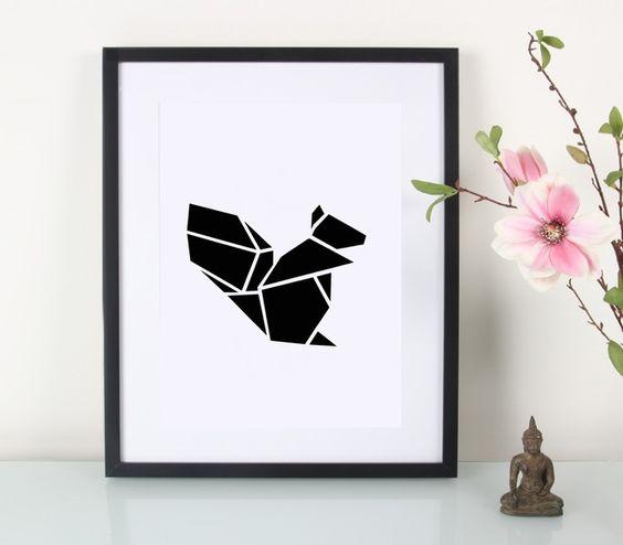 Artprint+/+Origami+/+Eichhörnchen+von+EULENSCHNITT+auf+DaWanda.com