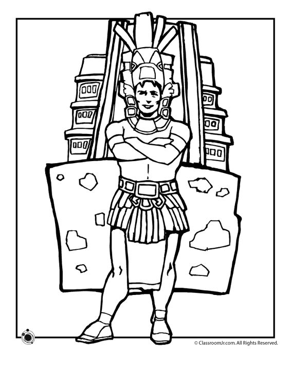 Aztec coloring and independence day on pinterest for Mexican independence day coloring pages
