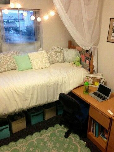 Get the coziest bed ever dorm room decor day bed dorm - Dorm underbed storage ideas ...