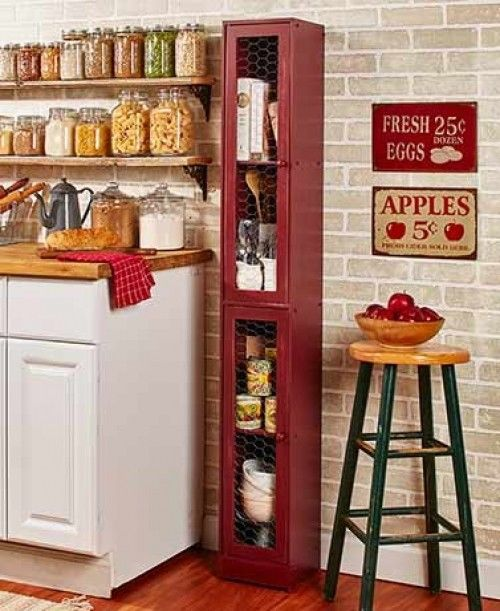 Tall Kitchen Storage Cabinet Tower Country Slim Wood Pantry