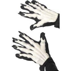 Guanti in stoffa neri con scheletro e unghie nere lunghe a rilievo. Misura da adulto. 1 paio di guanti. Smiffy's 38190 Disponibile da C&C Creations Store