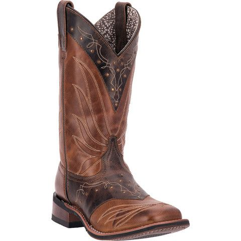 Laredo Womens Adobe Brown Western Collar Leather Cowboy Boots ...