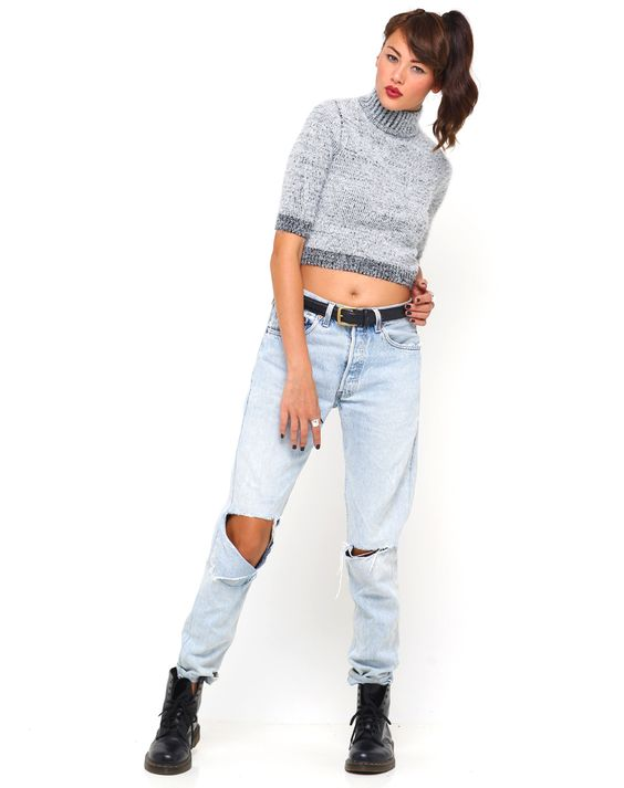 Motel Verona Turtleneck Cropped Sweater in Grey