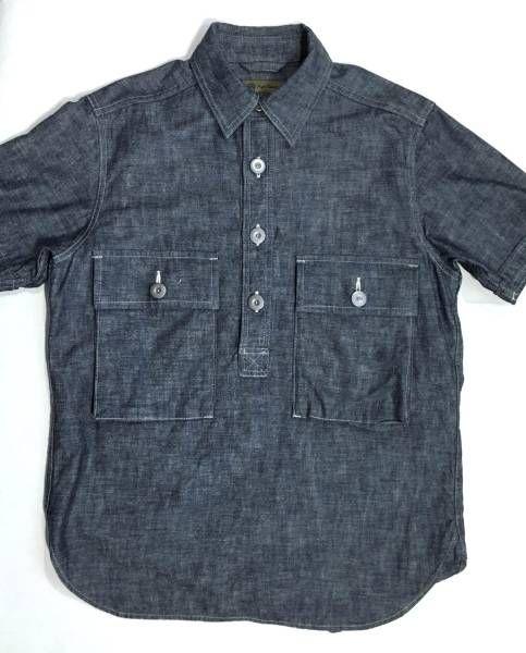 ナイジェルケーボン ダンガリーシャツ 半袖プルオーバー 美品 48_画像1