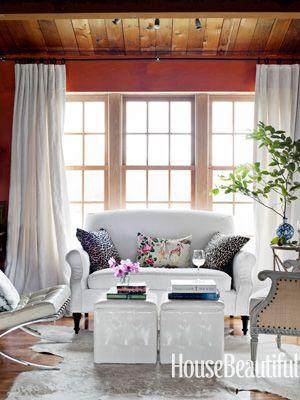 Modern Meets Country. Design: Deirdre Heekin and Caleb Barber/Studio Due. #white #windows #curtains