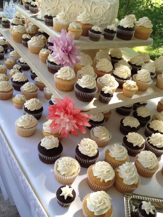 Wedding cupcakes and cake.