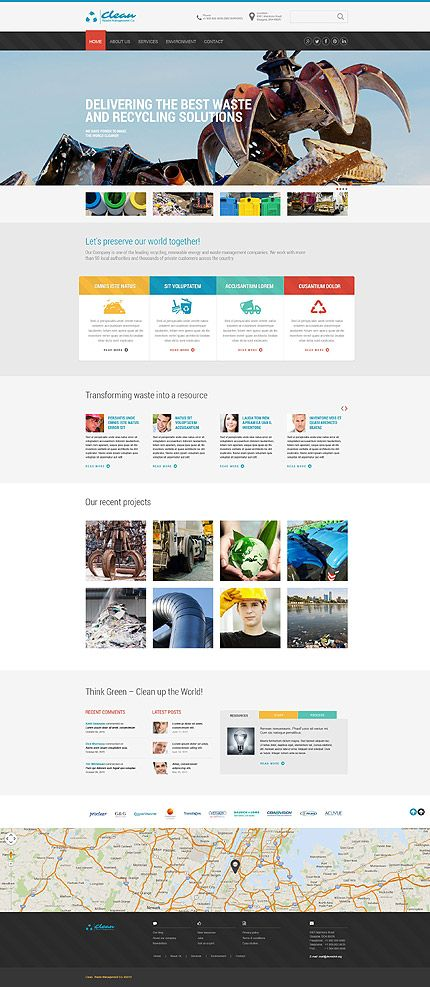 Website template, Website themes and Waste management company on ...