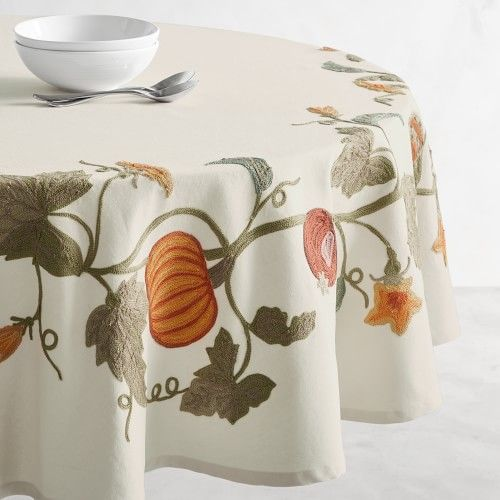 Alessandra Embroidered Tablecloth Embroidered Tablecloth Table Cloth Tablecloth Fabric