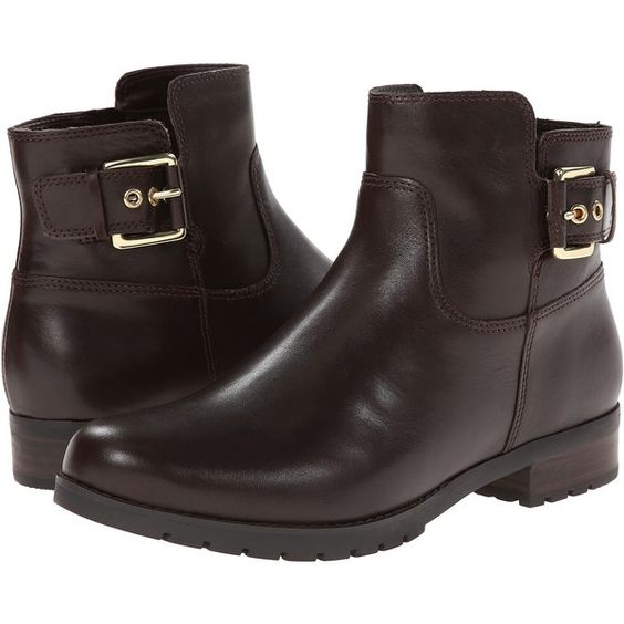 Rockport Tristina Buckle Ankle Bootie (Dark Brown Smooth) Women's... ($73) ❤ liked on Polyvore featuring shoes, boots, ankle booties, ankle boots, brown, brown ankle boots, platform bootie, brown bootie and brown ankle booties