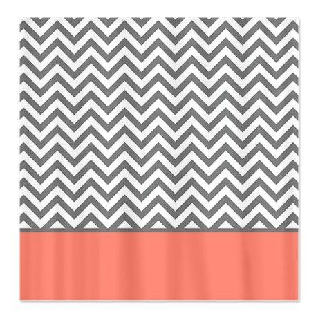 Curtains Ideas chevron stripe shower curtain : Gray Chevron Pattern Coral Stripe Shower Curtain | Pinterest ...