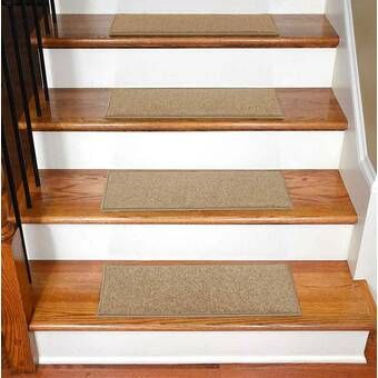 Carreras Striped Gray Stair Tread With Images Carpet Stairs | Wayfair Carpet Stair Treads | Tucker Murphy | Carpet Runners | Oaks Godinez | Stair Railing | Beige Carpet