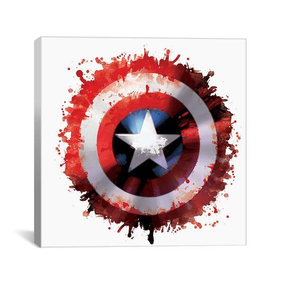 """Captain's America Shield // Canvas Print (18""""H x 0.75""""D x 18""""L)"""