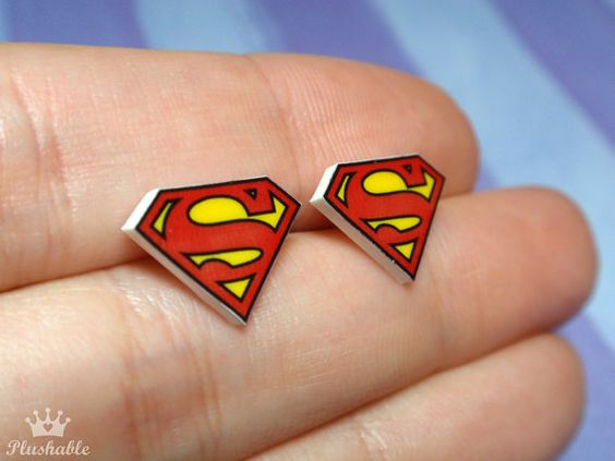 Superman earrings studs by Plushable on Etsy, $8.00