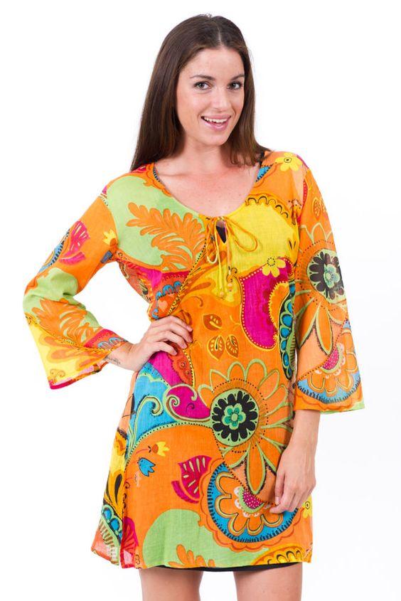 Sunkist Orange  100% Cotton Kaftan Dress by kaftanresort on Etsy