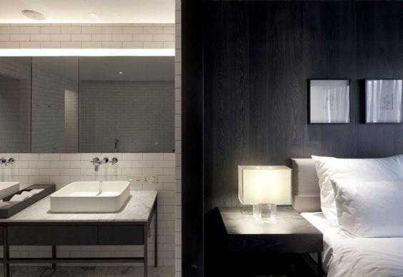 Tinte neutre per una delle camere da letto dell'hotel Le Mèridien a Zhengzhoue per la sala da bagno annessa
