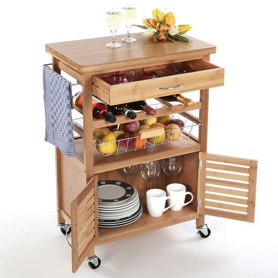 Torrex 39459 Küchenwagen – Servierwagen – Küchentrolley aus Bambus 88 x 36 x 60 cm mit Schublade Weinregal: Amazon.de: Küche & Haushalt