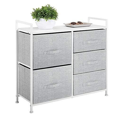 Blankets Jeans Sweaters MetroDecor mDesign Fabric 4-Drawer Storage Organizer Dresser for Clothing Gray