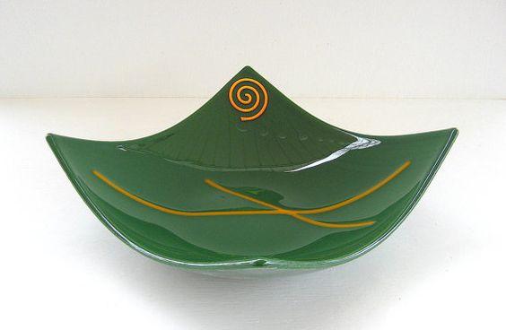 Stunning HUNTER GREEN GOLD Spiral Fused Art by DawnofCreationGlass, $26.00