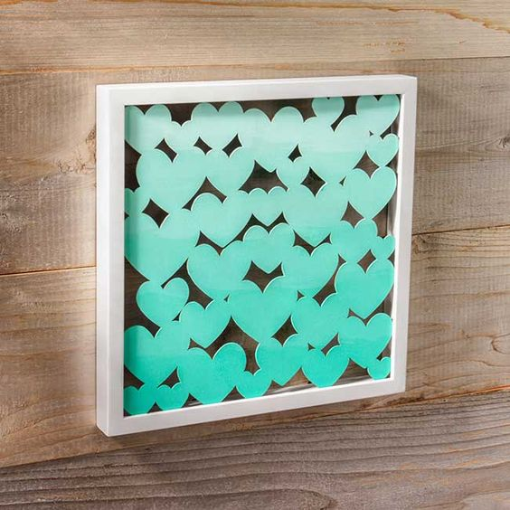 This Ombre Heart DIY Shadow Box would look beautiful in either a girl's or boy's nursery!