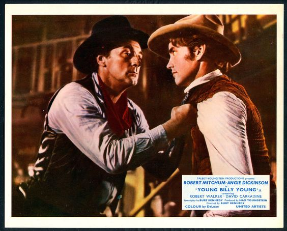 Robert Mitchum, and Robert Walker Jr. in a scene from the 1969 Western movie, Young Billy Young.