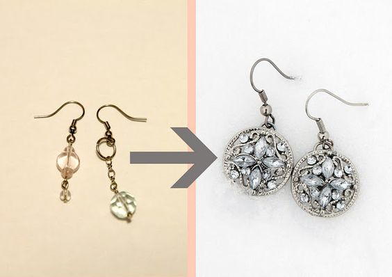 earrings from buttons and paperclips!