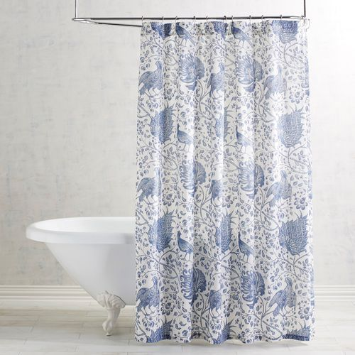 Jacobean Slate Blue Shower Curtain Blue White Shower Curtain Blue Shower Curtains Blue Bathroom Decor