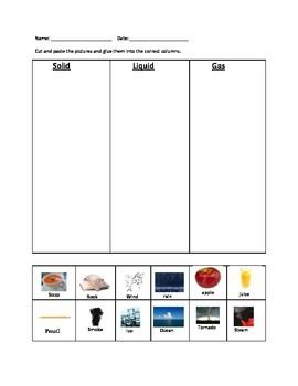 Printables Solid Liquid Gas Worksheet physical science states of matter and solid liquid gas on pinterest this worksheet requires the students to cut out sort pictures based if it