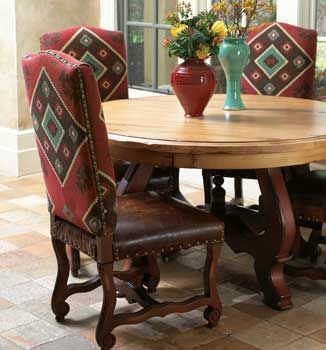 Love the fabric mixed with leather western for Leather kitchen table chairs