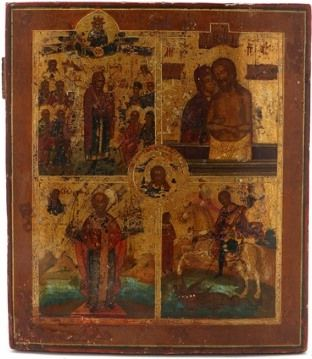 Russian four-parted icon (19th century)