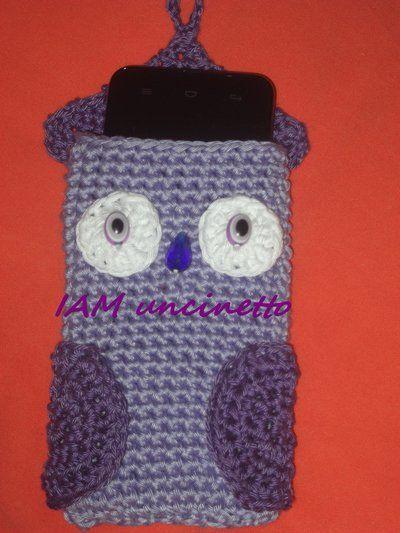 Porta cellulare, custodia, in cotone all'uncinetto a forma di gufo. Crochet owl cell phone case.