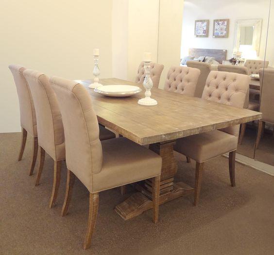 Mesa de comedor de doble pie central combinada con sillas - Sillas con estilo ...