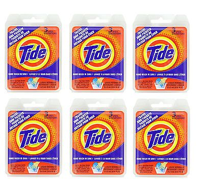 Tide Travel Sink Packets Liquid Detergent Lot of 6 Packs of 3